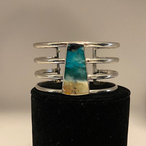 Petrified opalized wood cuff bracelet