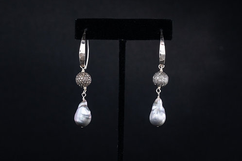 Baroque Pearls and Pave Diamond Earrings