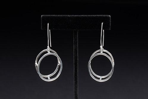 Geometric Oval Silver Earrings