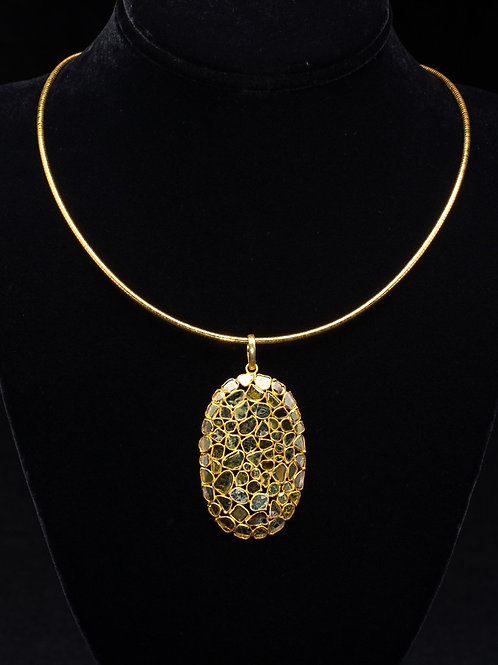Gold Vermeil Sliced Diamond Pendant
