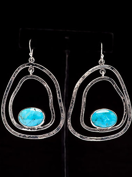 Freeform Kingman Arizona Turquoise Earring