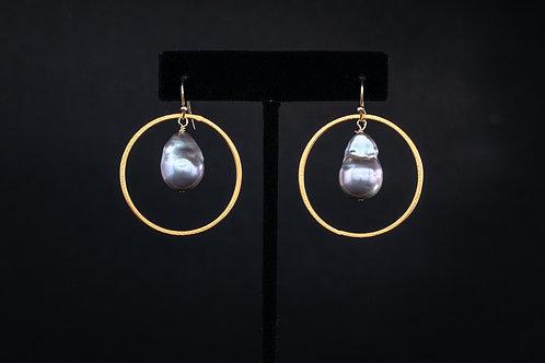 Pearl and Gold Vermeil Hoop Earrings