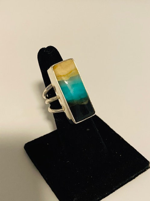 Petrified opalized rectangle ring
