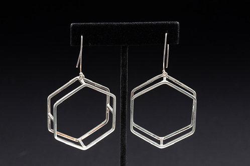 Large Geometric Heaxagon Silver Earrings