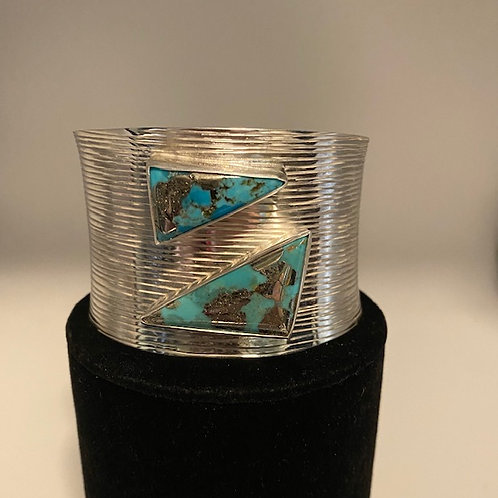 Turquoise and Pyrite sterling silver Cuff bracelet