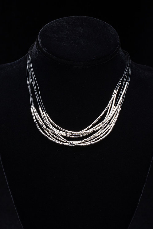 Silver Bead and Leather Strand Necklace