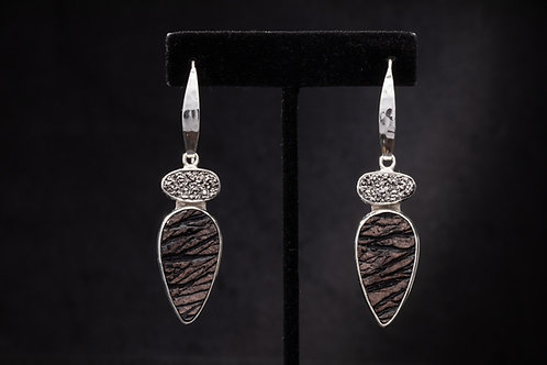 Platinum Drusy and Obsidian earring