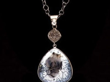 Dendrite Opal and Drusy Quartz Necklace