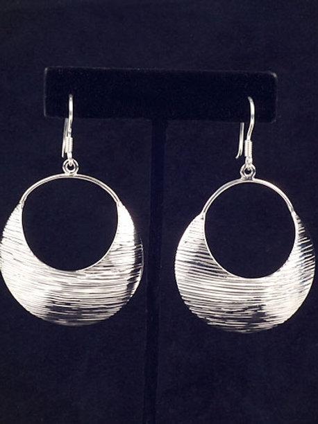 Sterling Silver Texture Hoop Earrings