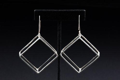 Large Geometric Diamond Shape Silver Earrings