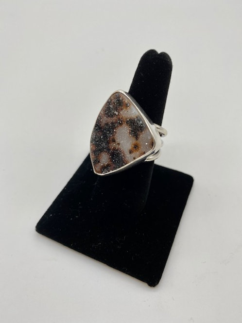 Large leopard drusy ring