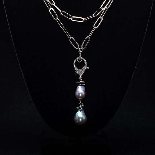 Pearl and Page Diamond Clasp Necklace