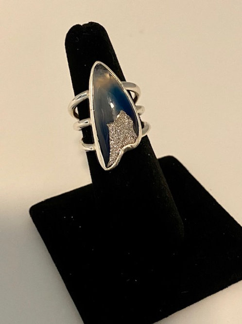 Platinum Drusy quartz ring