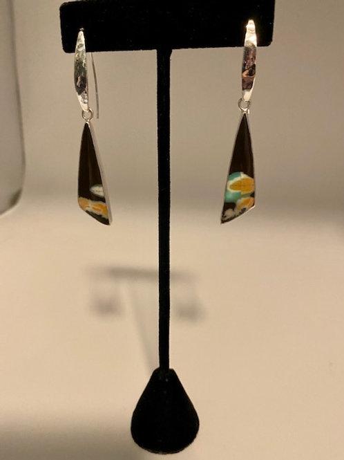 Petrified triangle opalized wood earring