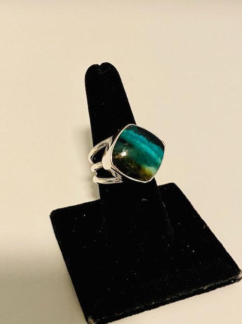 Petrified opalized wood ring