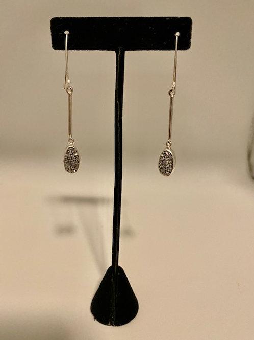 Platinum Drusy drop earrings