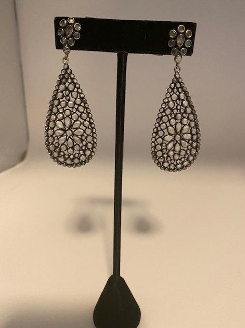 Sliced topaz earring