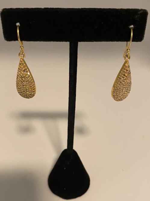 Gold pave diamond earrings