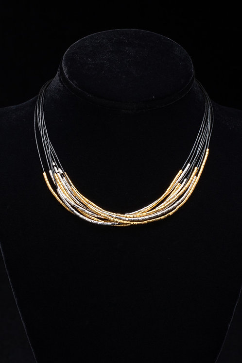 Leather and Gold Vermeil Necklace