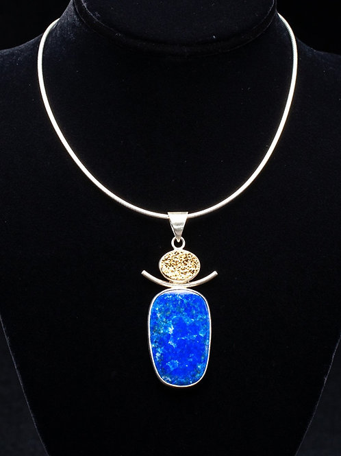 Lapis and Gold Drusy Necklace