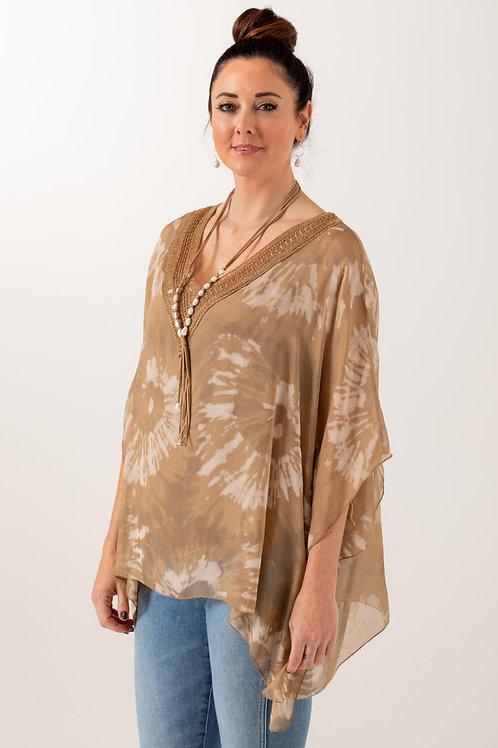 Tie-Dye Silk Kaftan Blouse