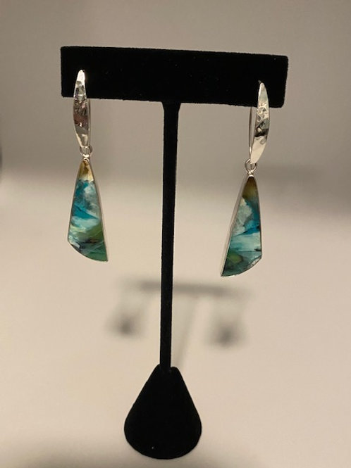 Petrified opalized wood earrings