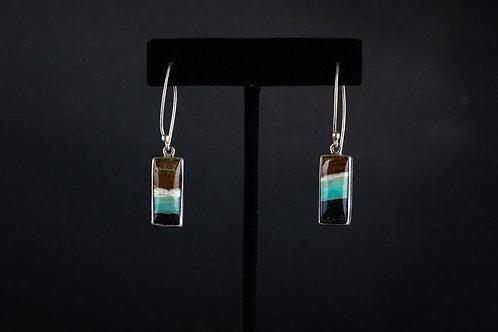 Small Square Petrified Opal Wood Earrings