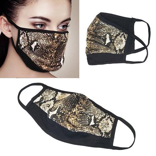 Facemask - Gold Snake Print