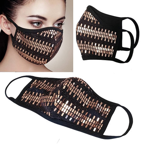 Facemask - Gold Rectangles