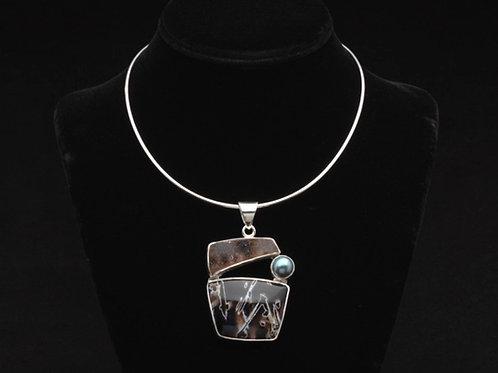 Drusy Quartz and Stick Agate necklace