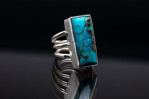 Kingman Turquoise and Pyrite Ring