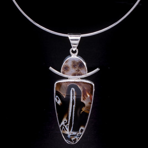 Dendrite leopard Drusy and stick agate necklace