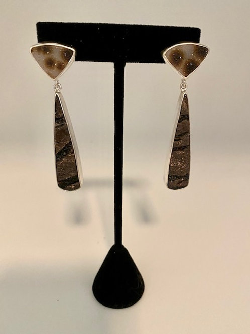 Natural surface obsidian and drusy earring