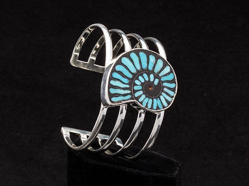 Turquoise inlay Ammonite Cuff Bracelet