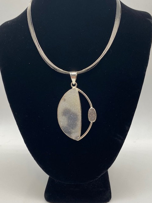 Natural Drusy quartz necklace