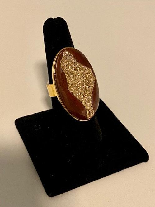 Valley drusy gold ring