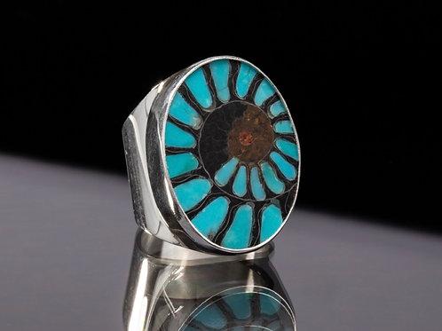 Turquoise Inlay Ammonite ring