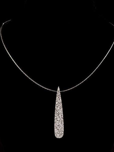 Platinum Drusy Quartz Long Drop Necklace