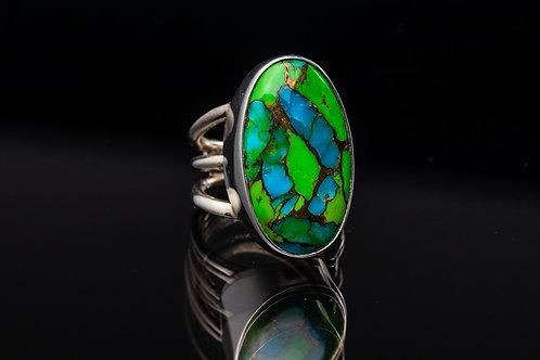 Kingman Turquoise Mosaic Ring