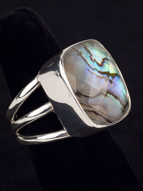 Faceted Abalone Ring