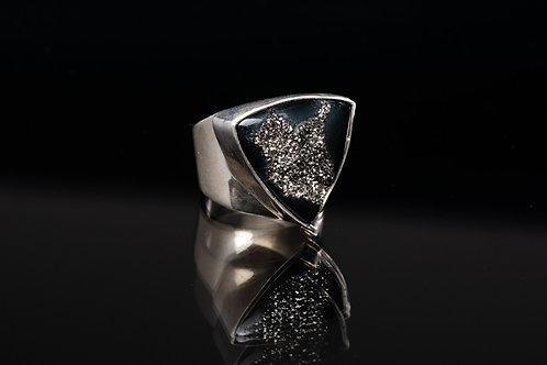 Platinum Druzy Quartz Silver Ring