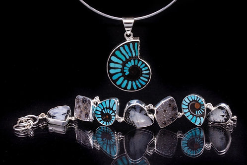 Turquoise Inlay Ammonite and Bracelet