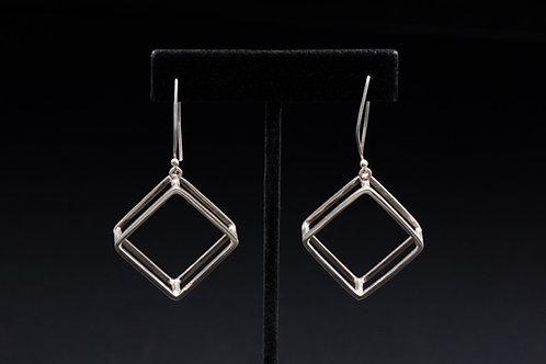 Geometric Diamond Shape Silver Earrings