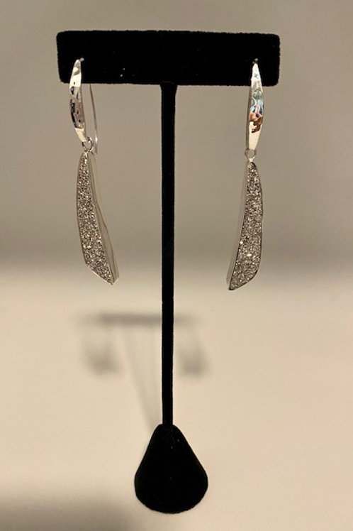 Platinum Drusy curved earrings