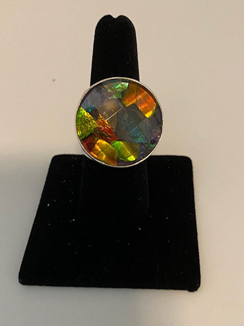 Circular Ammolite ring