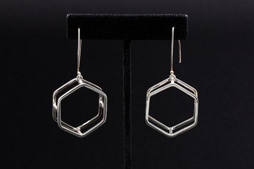 Geometric Hexagon Silver Earrings