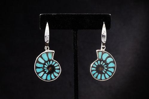 Turquoise Inlay Ammonite earring