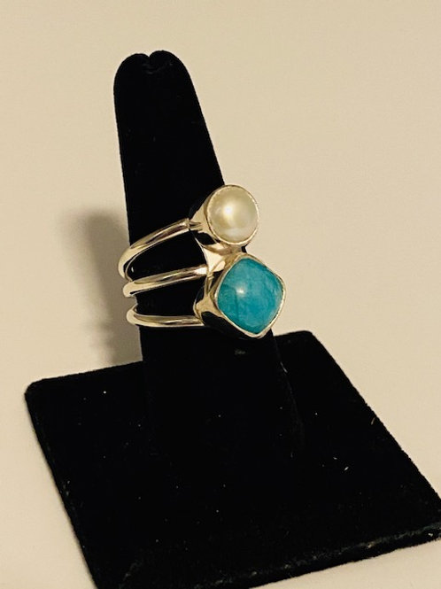 Amazonite and freshwater pearl ring