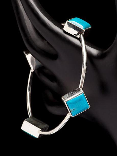 Kingman Arizona Diamond Cut turquoise Bangle