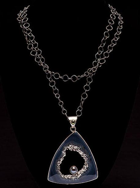 Large Trillion Platinum Drusy Agate Necklace